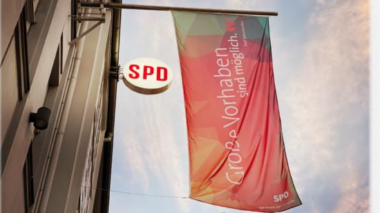 Fahne am Kurt-Schumacher-Haus in Hannover
